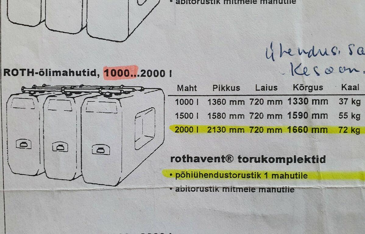 Kütusemahutid Roth 2x1000l