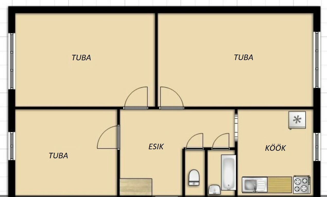 Hubane ja väga soe kolmetoaline korter