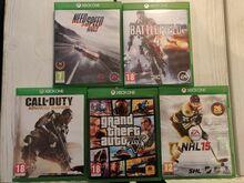 5 Xbox one mängu (NFS R,, BF4, COD AW, GTA V, jt)