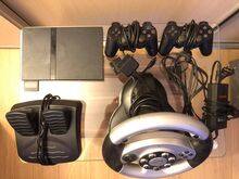 PS2 Playstation 2+2 pulti+roolikomplekt+15 mängu