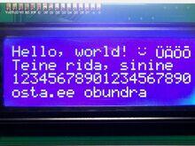 Arduinole LCD 20x4, sinine
