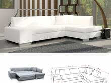 Valge nurgadiivan voodi-kunstnahk