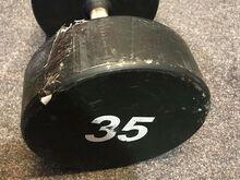 Kasutatud defektiga metallist hantel 35kg
