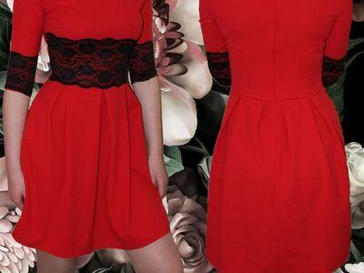 Ilus musta pitsiga punane kleit