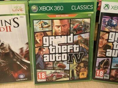 Xbox 360 orig. mängud AC2, GTA 4 ja GTA V