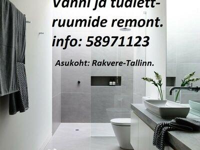 Vanni ja tualettruumide remont. Info: 58971123