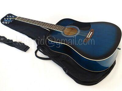 Akustiline kitarr, sinine, kotiga, uus