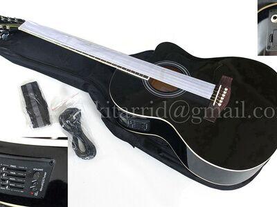 Elektroakustilise kitarri komplekt must, uus
